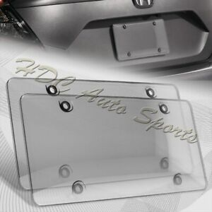 2 X Tinted Clear Smoke Protector License Plate Frame Shield Cover Front