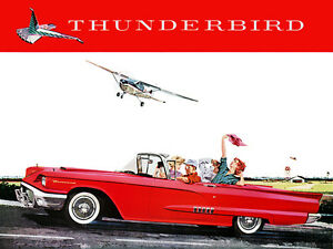 1958 Ford Thunderbird Convertible Promotional Advertising Poster