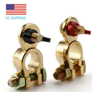 Brass Battery Terminal Positive Negative Connectors Clamp Marine Top Post End