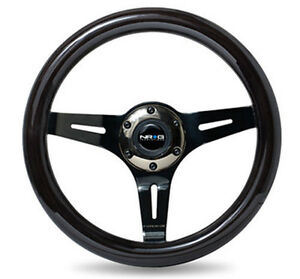 Nrg Steering Wheel Black Wood Grain 310mm 3 spoke Black Chrome Center