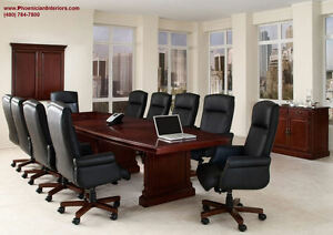 8 Foot Cherry Walnut Wood Conference Table Grommets And 6 Chairs Furniture Set