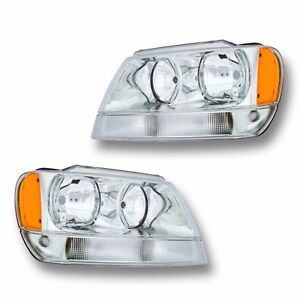 Fits Jeep Grand Cherokee Limited Overland Driver Passenger Headlight Lamp 1 Pair