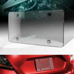 1 X Smoke Tinted Bubble Shield Protector License Plate Frame Cover Front Rear