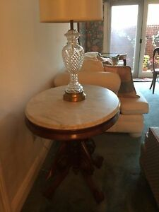 Antique Victorian Parlor Table Marble Top Oval Shape