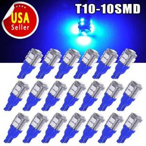 20x Ultra Blue T10 10 Smd Led Car Map Dome Interior Light Bulb W5w 192 194 2825