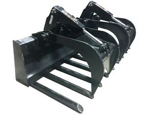 72 Tine Grapple Skid Steer Attachment Bobcat John Deere Gehl Kubota Takeuchi
