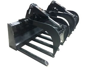 66 Tine Grapple Skid Steer Attachment Bobcat John Deere Gehl Kubota Takeuchi