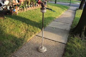 Antique Victorian Floor Standing Kerosene Lamp Torch Holder Parlor Lamp Metal