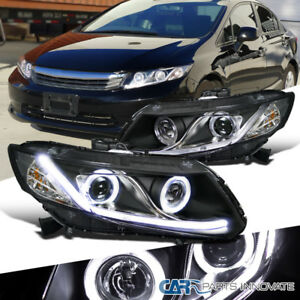 Fit 2012 2015 Honda Civic 2 4dr Black Dual Halo Projector Headlights led Drl Bar