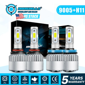 9005 H11 Total 4000w 600000lm Cree Led Headlight Kit High Low Beam Light Bulbs