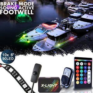 Led Glow Accent Pontoon Deck Marine Boating Waterproof Neon Lights Kit 10pc Stri