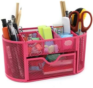 Desk Organizer Office Supply Caddy Drawer Pen Holder Collection Pink Storage New