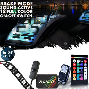 4pc Neon Led Accent Pontoon Boat Deck Marine Glow Waterproof Strip Lighting Kit