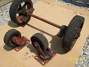 Antique Vintage Industrial Cart Coffee Table Cast Iron Wheels Casters