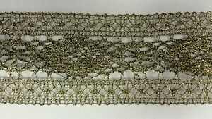 Old Looking Metallic Ribbon Lace Trim 2 3 4 Inch Wide For Lamp Shade