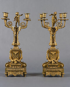 A Pair Of Napoleon Iii French Gilt Bronze Four Branch Figural Candelabras