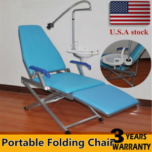 Portable Dental Folding Chair Unit water Supply led Light plastic Spittoon New