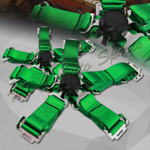 2 X Universal Jdm 5 Point Cam Lock Green Nylon Safety Harness Racing Seat Belt