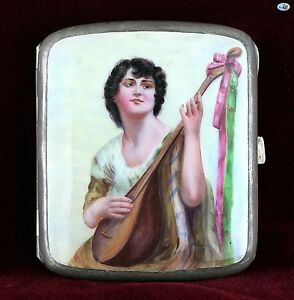 Antique 1930s European Alcapa Silver Pictorial Enamel Cigarette Case