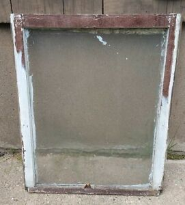 Vintage Wood Window Frame Lower Sash Single Pane Glass 28 5 W In 35 H In
