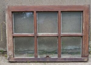 Vintage Wood Window Frame Upper Sash Six Pane Glass 28 25 W In 19 25 H In