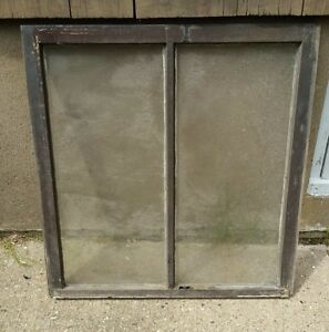 Vintage Wood Window Frame Upper Sash Two Pane Glass 31 25 W In 32 75 H In
