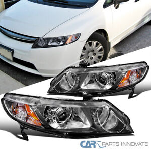 Fit 06 11 Honda Civic 4dr Black Retro Style Replacement Projector Headlights