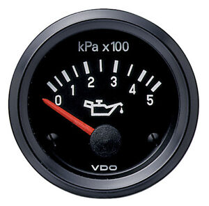 Vdo Gauge Oil Pressure Electric Short Sweep 0 500 Kpa 52mm 24 Volt Black Flood