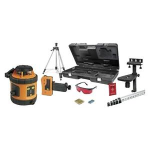 800 Indoor Outdoor Self Leveling Rotary Laser Kit Tripod Grade Rod Detector Set