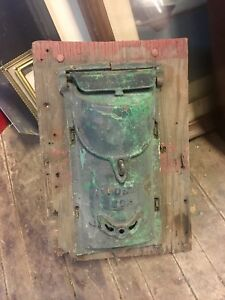 Antique Cast Iron Postal Box Old Green Paint