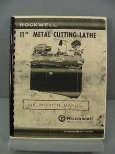 Rockwell 11 Metal Cutting Lathe Instruction Manual Parts List