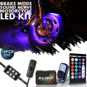 14x Harley Street Glide Motorcycle Led Accent Glow Kit W Brake Mode Music Active