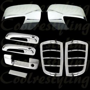Dodge Ram 09 2012 Chrome Mirror 2 Doors Tailgate W O C Tail Light Cover