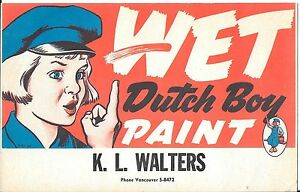 Advertising Cardboard Sign for Dutch Boy Paints c1950s K L Walters Co Vancouver