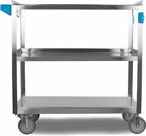 Carlisle Uc5032135 3 Shelf Stainless Steel Utility Service Cart 500 Pound Cap