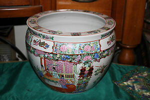 Chinese Famille Rose Pottery Planter Fish Bowl Painted Scenes Men Women Flowers