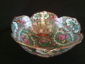 Antique Chinese Rose Medallion Porcelain Punch Bowl Marked