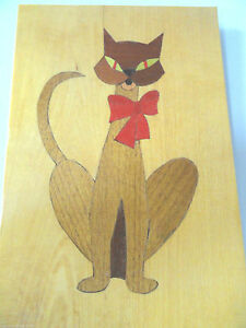 Marquetry Inlay Wooden Cat Signed And Dated 1995