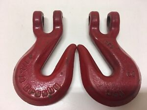 2pc Lot Crosby 1 2 13 Hooks Tow Rigging Hoist Chain Nice Condition
