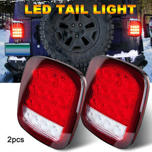 76 06 Jeep Trailer Led Tail Brake Turn Signal Reverse License Light Lens Pair