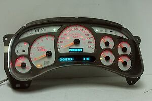 03 04 Silverado 1500 2500 Yukon Denali Instrument Cluster With Red Led Upgrade