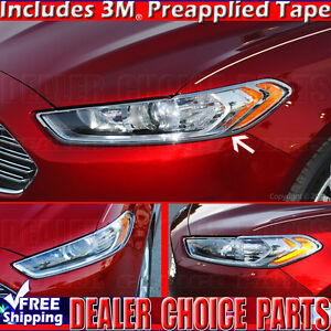 2013 2014 2015 2016 Ford Fusion Triple Chrome Abs Headlight Covers Overlay