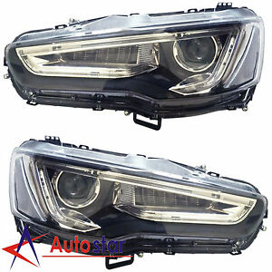 Pair Led Drl Headlights Headlamps A5 Style For 2008 2017 Mitsubishi Lancer Evo