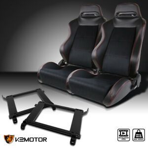 For 90 93 Acura Integra Black Pvc Leather Racing Seats Red Stripe Brackets X2