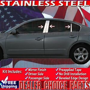 For 2007 2012 Nissan Altima 6pc Stainless Steel Pillar Post Trim Covers