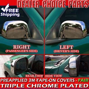 For 2002 2008 Dodge Ram 1500 Triple Chrome Mirror Covers Non Towing Overlays