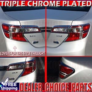 2012 2013 2014 Toyota Camry Triple Chrome Tail Light Bezel Covers Trims 4pieses