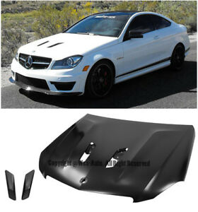 507 Edition Black Series Style Front Bumper Vented Hood For 12 15 Benz C63 Amg