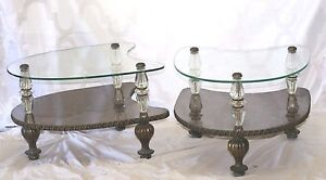 Hollywood Regency Boomerang Two Tier Glass Brass Side Coffee Tables Pair