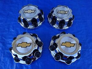 Set Of 4 00 08 Chevy Silverado 2500 Hd Truck Chrome Center Caps 16 8 Lug Wheels